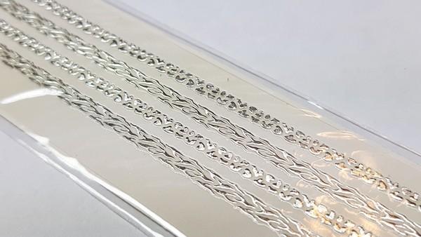 Long Luxus Chrome Design Sticker 227 Silber