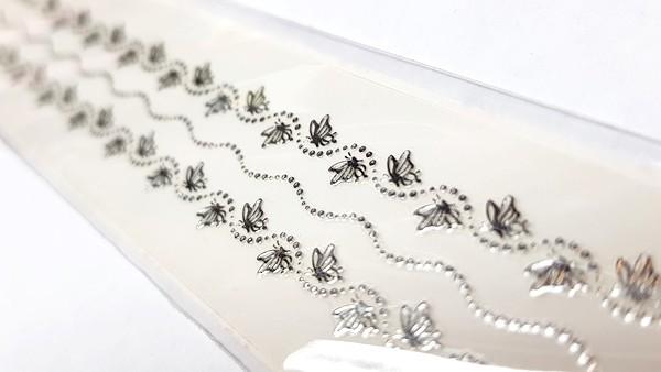 Long Luxus Chrome Design Sticker 231 Silber