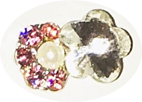 Overlay Flowers Crystal/Rose Strass und Perle