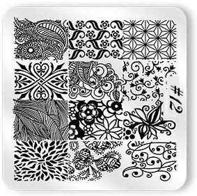 Stamping Plate Schnörkel & Blumen 12