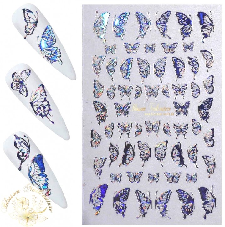 Lovely Butterfly Wings Sticker Holo Silver