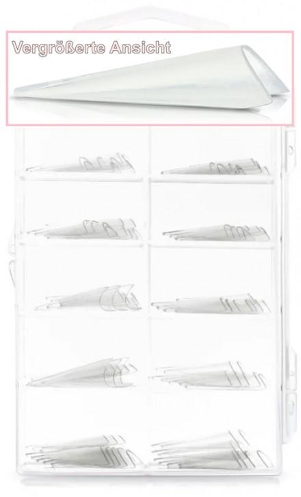 Stiletto Tips ohne Klebefläche - 100 Stück Clear im Tipkasten