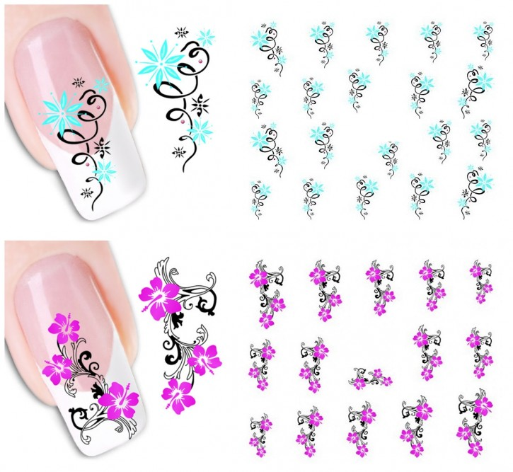 Water Decals Wraps Hibiskus & Korn Blume