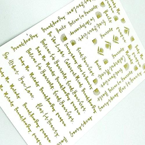 Luxus Chrome Design Sticker Schrift Gold