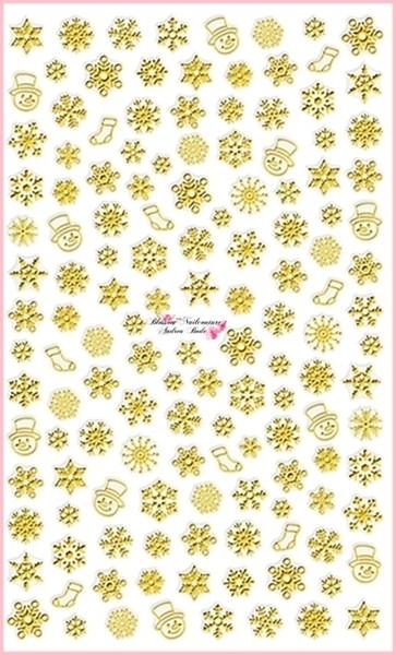 Weihnachtssticker Snowflakes Chrome Gold