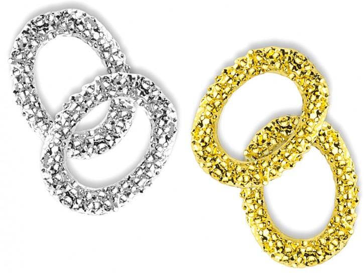 Nailart und Liquid Stone Rahmen rund - 2 x Silber,  2 x Gold