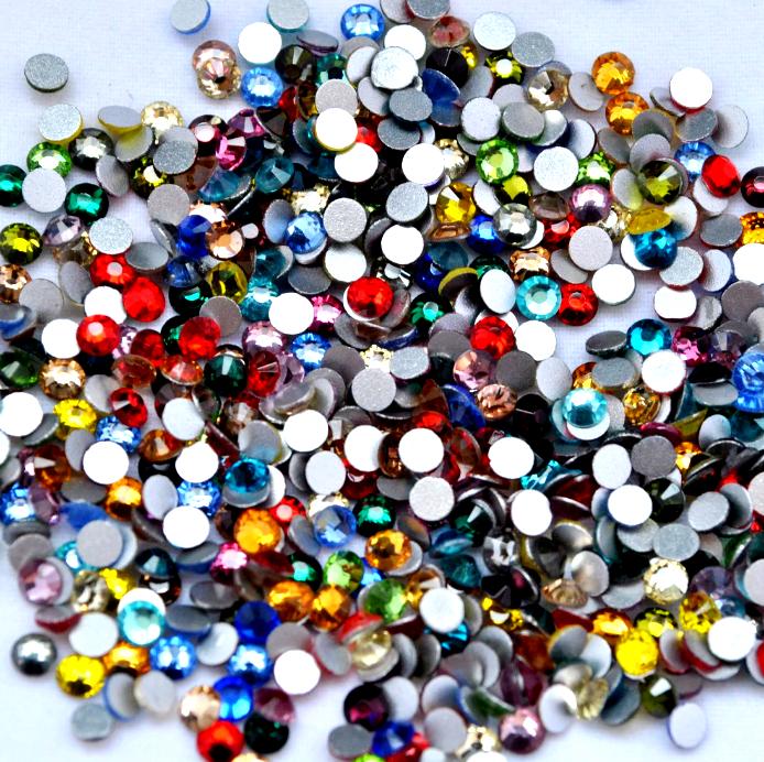 1200 Bunter Mix Strasssteine - hochwertige Glasmanufaktur ss3 ss4 ss5 ss6 ss8 ss10