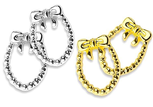 Nailart und Liquid Stone Rahmen Schleifchen-Collier - 2 x Silber, 2 x Gold