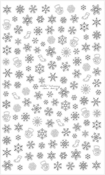 Weihnachtssticker Snowflakes Chrome Silber