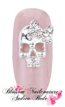 Overlay Silber Skull mit Strass-Schleifchen