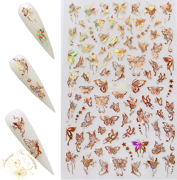 Lovely Butterfly Small Sticker Holo Gold
