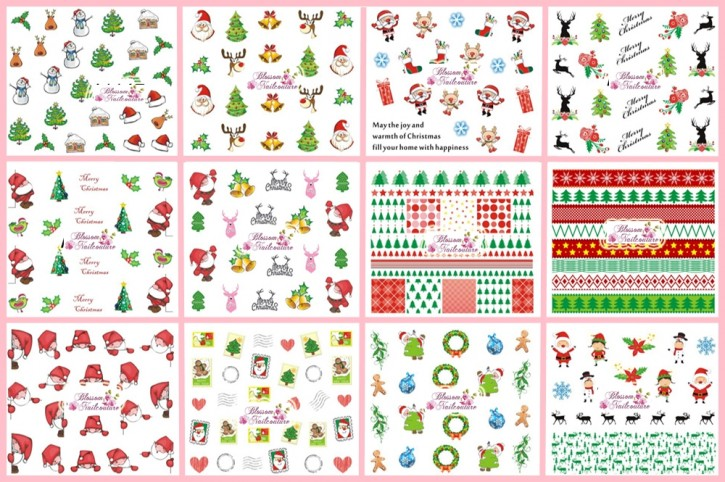 12er Set Merry Christmas Tattoo Wraps deckend