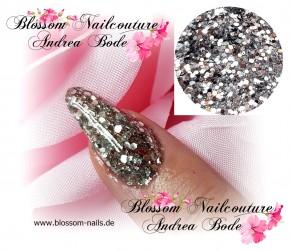 Glamour Glitter Swirl Silverstars  XL-Größe