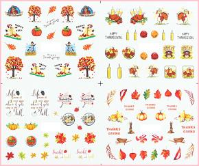12er Set Herbst Tattoo Wraps deckend